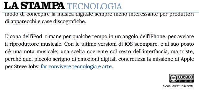Screenshot from La Stampa