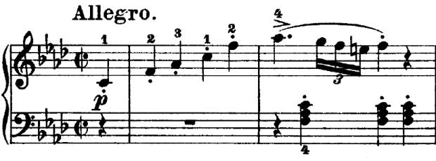 Beethoven op. 2 Nr. 1 - 1. Satz - Takt 1