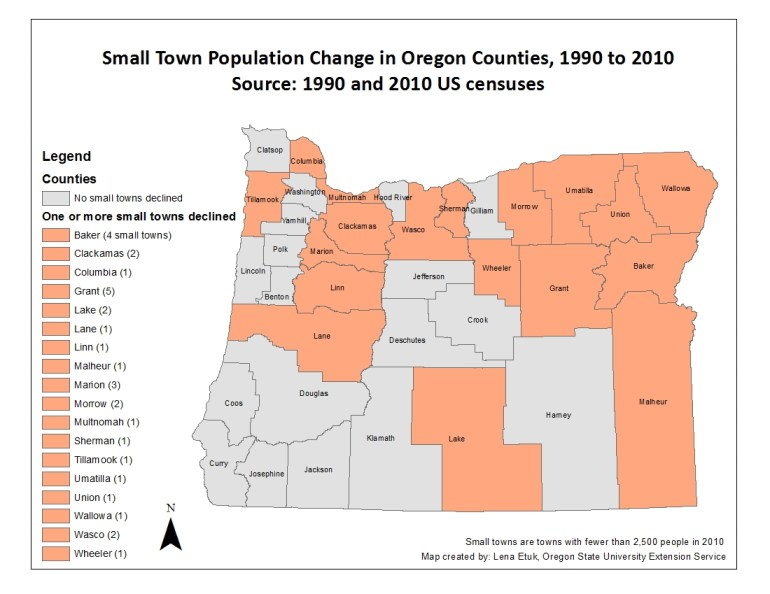 Small Town Pop Change in OR Counties - 1990 to 2010