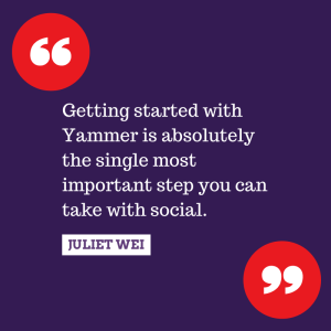 Getting started with Yammer is absolutely the single most important step you can take with social.