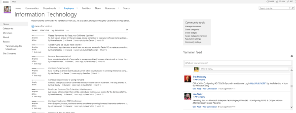 Yammer Embed in Communities Of Practice