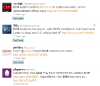 Screen shot of Twitter tweets on bin Laden DNA