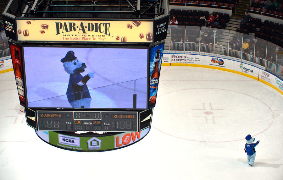 Barry, the Peoria Rivermen mascot entertains on the big screen and the ice.