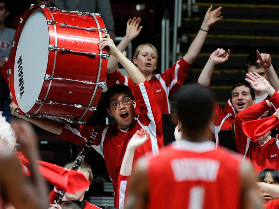 RON JOHNSON/JOURNAL STAR   Bradley band members try to distract ISU's Tyler Brown as he stands at the line to shoot a bonus shot during a game at Carver Arena.