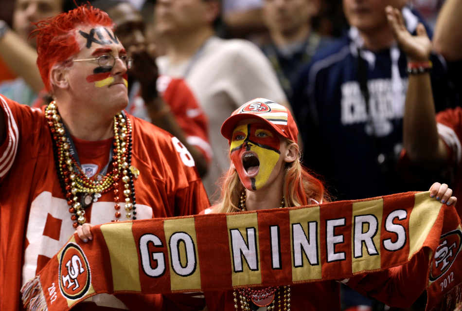 San Francisco 49ers fans react during the second half of the NFL Super Bowl XLVII football game against the Baltimore Ravens, Sunday, Feb. 3, 2013, in New Orleans. (AP Photo/David Goldman)