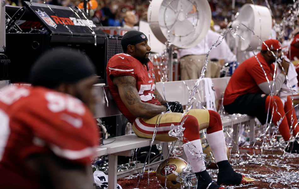 San Francisco 49ers linebacker NaVorro Bowman (53) sits on the bench after losing 34-31 to the Baltimore Ravens in the NFL Super Bowl XLVII football game, Sunday, Feb. 3, 2013, in New Orleans. (AP Photo/David Goldman)