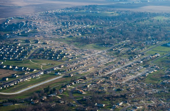 FRED ZWICKY/JOURNAL STAR The path of destruction can be seen from the air  as a tornado ripped through Washington, killing one person, injuring dozens more and decimated hundreds of homes as a storm system moved through Pekin, East Peoria and Washington.