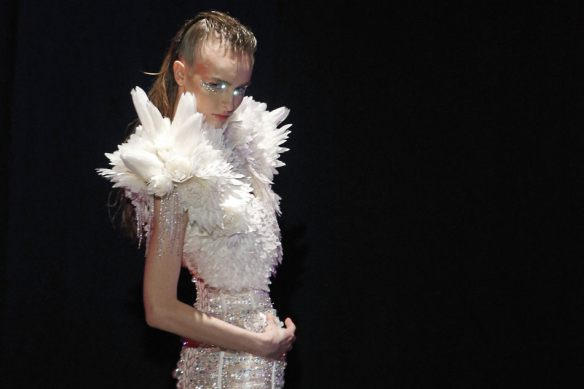 A model wears a creation by Belgian fashion designer Serkan Cura as part of his Spring-Summer 2014 Haute Couture fashion collection presentation, in Paris, Thursday, Jan.23, 2014. (AP Photo/Thibault Camus)