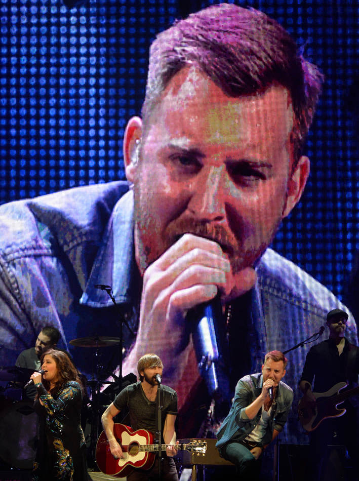 RON JOHNSON/JOURNAL STAR   Singer Charles Kelley of the country music band Lady Antebellum is projected on the large screen during a January 10 show at the Peoria Civic Center.