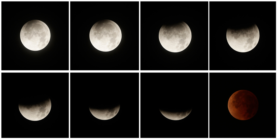 This eight picture combo shows a total lunar eclipse over Panama City, Panama, early Tuesday, April 15, 2014. Tuesday's eclipse is the first of four total lunar eclipses that will take place between 2014 to 2015. (AP Photo/Arnulfo Franco)