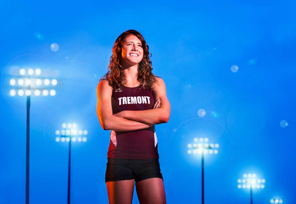 FRED ZWICKY/JOURNAL STAR PHOTO ILLUSTRATION Tremont sprinter/long jumper Amelia Glueck has lit up the track as a three-time 1A state champion in long jump, two-time state champ in 100 meters and 13-time state medalist. She has committed to Illinois Wesleyan for the fall.