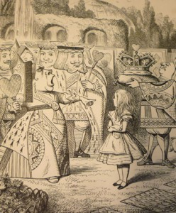 Tenniel's famed illustrations of anthropomorphized playing cards in Alice in Wonderland.