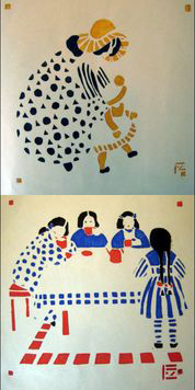 Figures 2a & 2b: Fanny Harlfinger Zakucka, stenciled images from Schablanon Drücke, ca. 1903. (Cotsen Children's Library)