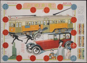 Densha Sugoroku (A streetcar game), distributed as a supplement to Yōnen Gahō (Young children's pictorial), vol. 19, no. 1, on January 1, 1924.