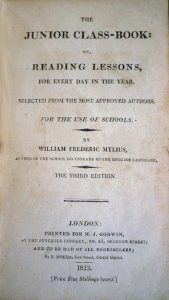 """Title page: """"The Junior Class-Book,"""" by William Frederick Mylius (London: M.J. Godwin, 1813) Cotsen new accession."""