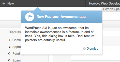 WordPress 3.3 feature pointer