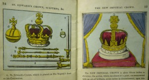 """Illustration of the """"New Imperial Crown"""" (not depicted in the 1820 ed.), with the crown formerly-known as the """"Imperial Crown"""" (now labeled """"St. Edwards Crown"""")."""