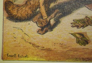 Detail showing Griset's signature on one of two signed plates, although all six are credited to him.