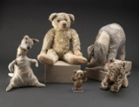 """Children's Center at 42nd St, The New York Public Library. """"Kanga, Winnie-the-Pooh, Piglet, Eeyore and Tigger."""" The New York Public Library Digital Collections. 1925. http://digitalcollections.nypl.org/items/5e66b3e9-1aab-d471-e040-e00a180654d7"""