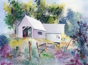 Mountain Cabin, plein air watercolor by Norm Rossignol