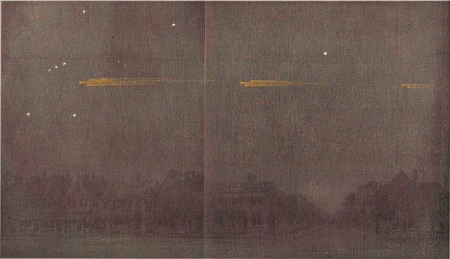The Great Meteor Procession of 1913. Image Credit & Copyright: RASC Archives; Acknowledgement: Bradley E. Schaefer (LSU)