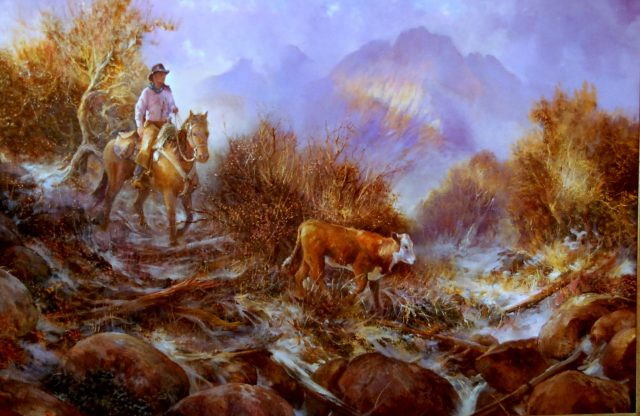 """The Drag Rider,"" Oil painting of a cowboy on his horse bringing home a lagging cow by Stefan Baumann"