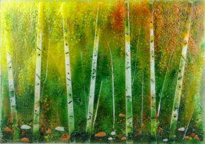 Fall Birches, glass art by Jessica Carrara