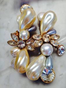 Pearl and crystal barrettes for Judy Collins by Wendy Gell