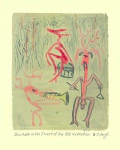 Sour Note in the Forest of the 6th Extinction, monotype by Catie Faryl