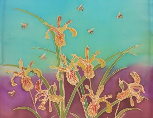 Oregon Wild Iris with Bees, by Judy Elliott