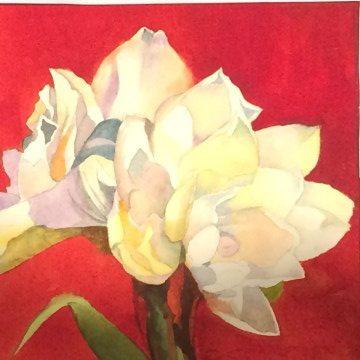 Winter Amaryllis, original painting on display at Art & Soul Gallery December 2014