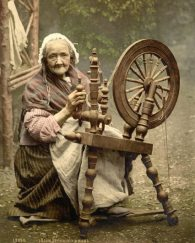 Woman at spinning wheel
