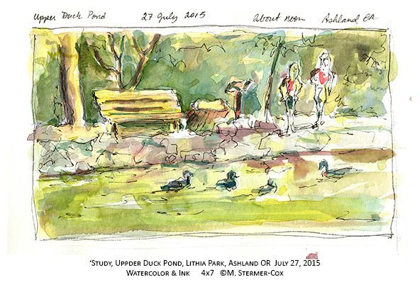 Watercolor Sketch:  Upper Duck Pond