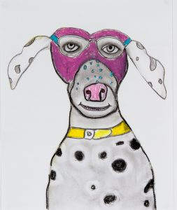 Dog, mixed media by Wendy Daniels