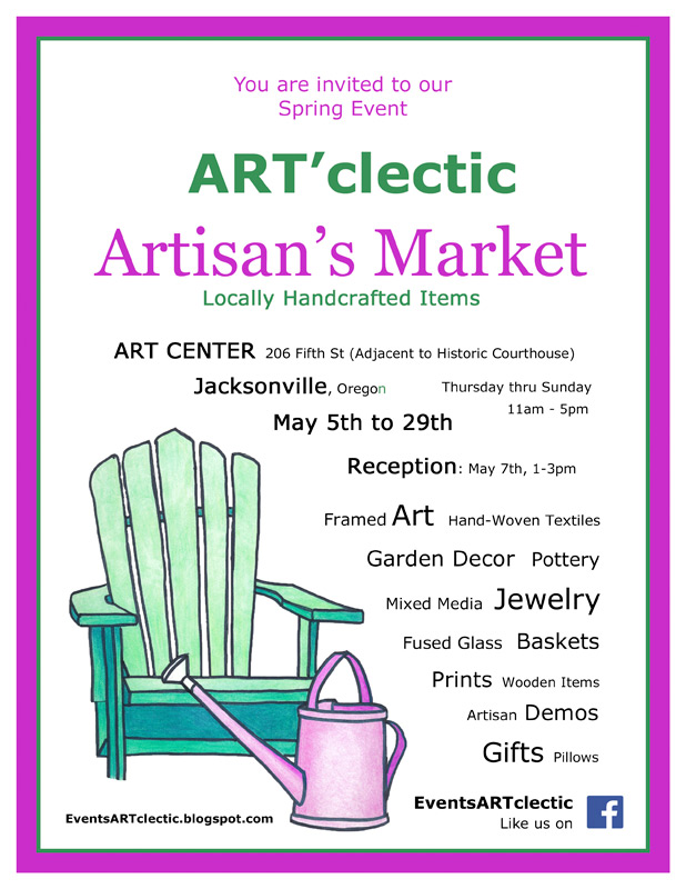 may 2016 art'clectic artisans market : Sprint artisan's market at Art Presence Art Center, Jacksonville, Oregon