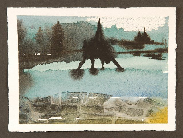 """Art & Ideas Discussion at The Ark : The Bridge, Monotype Print from the """"Daily Toast"""" series by artist Catie Faryl."""