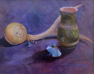 Rattle, Vase and Frog, oil painting by Marge Heilman