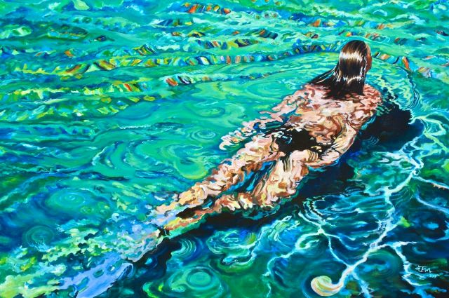 """ashland gallery association august exhibits : """"Embrasser du Regard"""" (Behold) by Adele Hiles, 60 X 40 acrylic on canvas"""