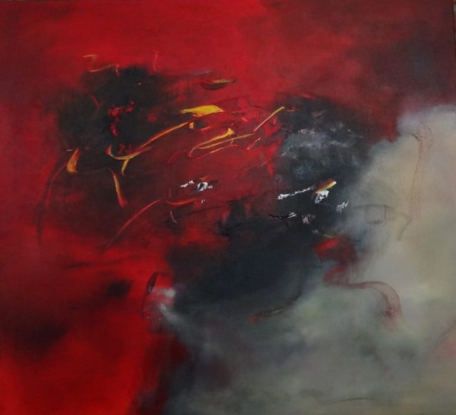 "rogue gallery august 2016 exhibits news : image of ""Smoke and Mirrors,"" 30"" x 30"" red and black abstract acrylic painting on canvas by Alx Fox"