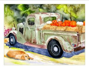 Image of Dog Days of Summer, watercolor painting by Marianne Nielsen