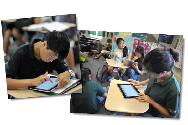 Students using ScreenChomp iPad app for language class