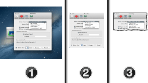 three variations of a screenshot