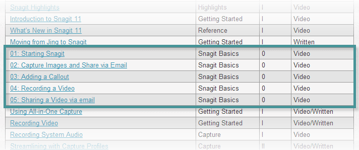Location of Snagit Basics Series