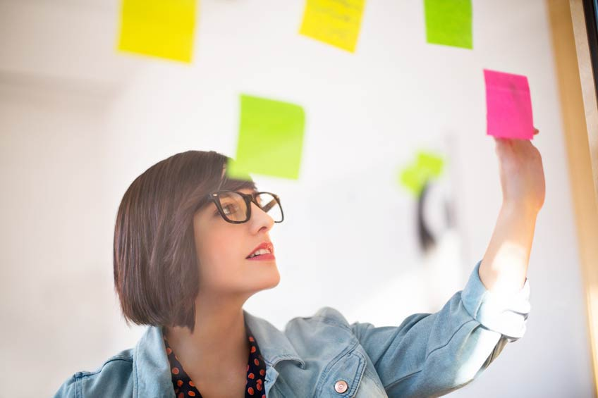 Picture of Woman Looking at Post It Notes in an Office