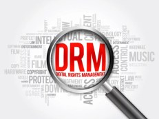 DRM - Digital Rights Management word cloud with magnifying glass, business concept
