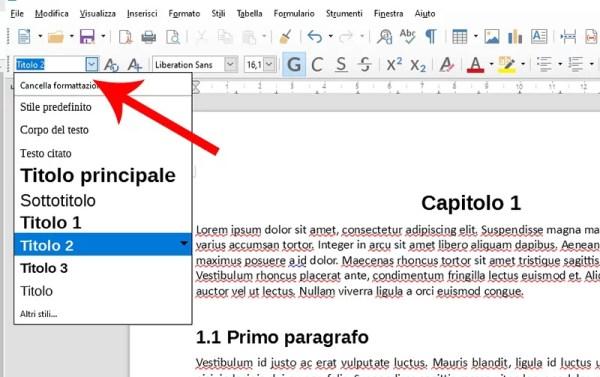 Stili dei titoli in LibreOffice