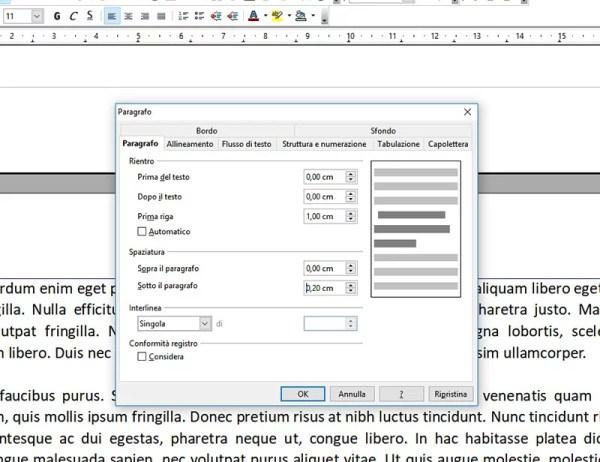 Rientri e spaziature in OpenOffice