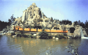 Disneyland's Mine train rounds Cascade Peak