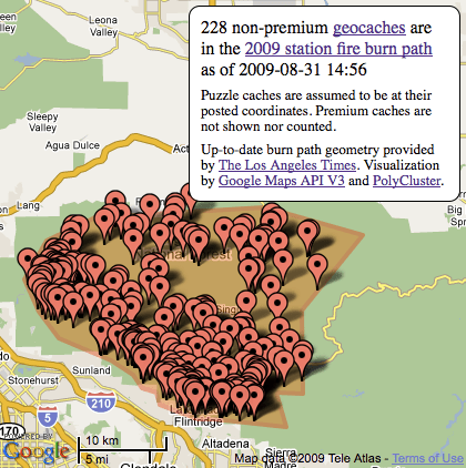 Geocaches in the 2009 Station Fire