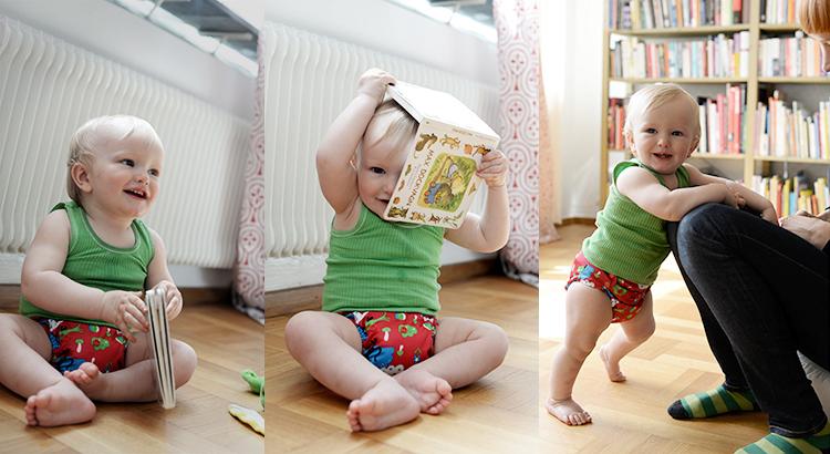 Bebis i poops tygblöja